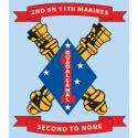2nd Battalion 11th Marine Second to None Crossed Cannon 4″x4.5″ Decal