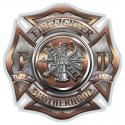 FIRE DEPT POLISHED BRASS DIAMOND PLATE BUGLE RANKING DECAL