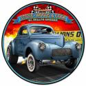 1941 S.W.C. Willys Gasser round metal sign 14 inch by 14 inch.