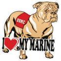 I Love My Marine with Bulldog Auto Magnet