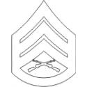 E-6 SSGT Staff Sergeant (White) Decal