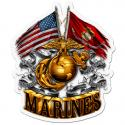 DOUBLE FLAG GOLD GLOBE MARINE CORPS DECAL