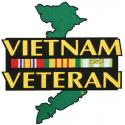 Vietnam Veteran with Ribbon and Green Map Large Die Cut Patch