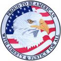Proud To Be American with Eagle and USA Flag Large Patch
