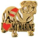 I Heart My Marine with Bulldog Lapel Pin