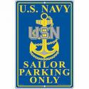 Navy PARKING ONLY ALUMINUM Sign