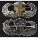 WW II Chaplain Paratrooper Wing Sterling Pin Back, Gold Plated Latin Cross