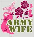 Army Wife Butterfly and Flowers Decal