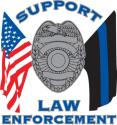 SUPPORT LAW ENFORCEMENT CROSS FLAG DECAL