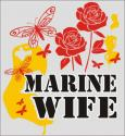 Marine Wife with Butterfly and Rose Logo Decal