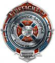 CHROME BADGE FIREFIGHTER DECAL