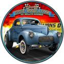 1941 S.W.C. Willys Gasser round metal sign 28 inch by 28 inch.
