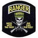 Army Ranger  Mess w/best, die like the rest (Black) Patch