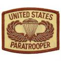 United States Army Paratrooper Patch Tan