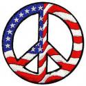 USA Flag Peace Sign Patch
