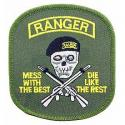 Army Ranger, Mess w/best, die like the rest (Green) Patch