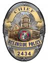 Oceanside Police (Chief) Department Badge all Metal Sign with your badge number