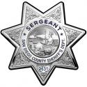 Sergeant San Diego Sheriff's Department Badge All Metal Sign With Your Badge Num
