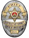 Los Angeles Country District Attorney Investigator (Chief) Metal Sign Badge with