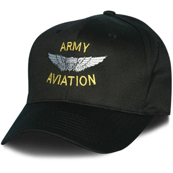 Army Aviation With Wings Direct Embroidered Black Ball Cap