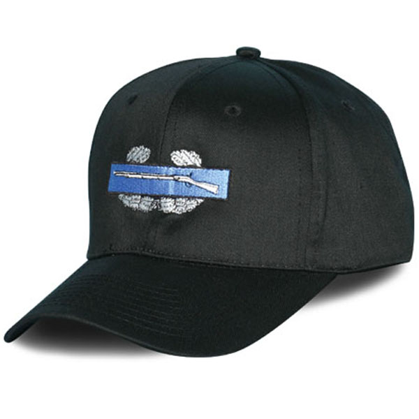 Combat Infantry Badge Direct Embroidered Black Ball Cap