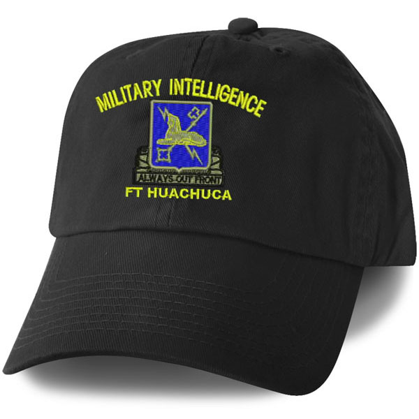 Military Intelligence Ft Huachuca Direct Embroidered Black Ball Cap