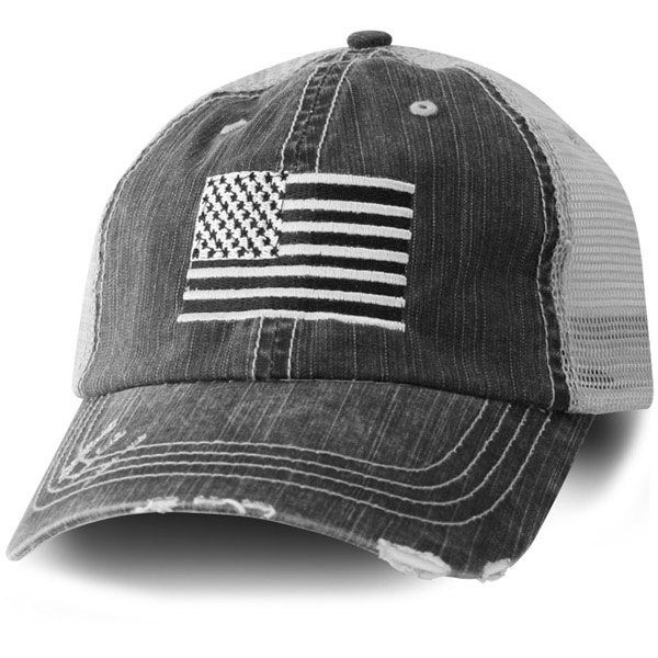 Usa Flag Embroidered Distressed Black Mesh Ball Cap