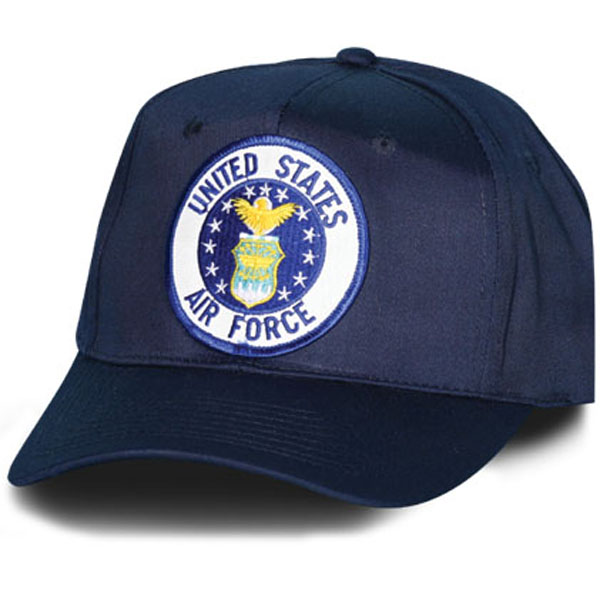 United States Air Force Crest Patch Navy Blue Ball Cap