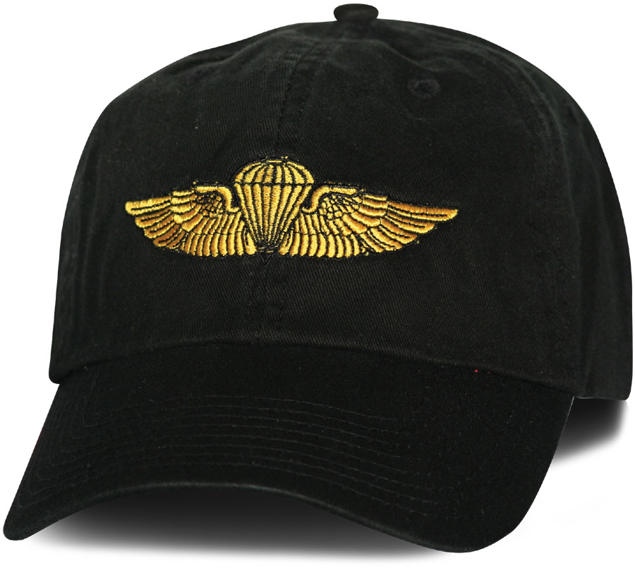 Usmc Navy Jump Wings Direct Embroidered Black Ball Cap