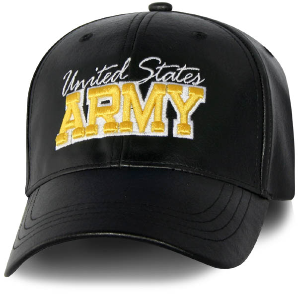 Us Army 3d Embroidery Pu Leather Black Ball Cap North