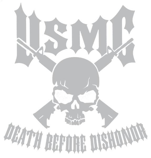 Usmc Death Before Dishonor With Skull And Crossed Rifles Jumbo Vinyl