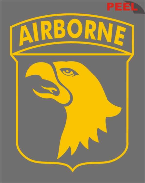 101st Airborne With Eagle Logo Yellow Jumbo Vinyl Transfer
