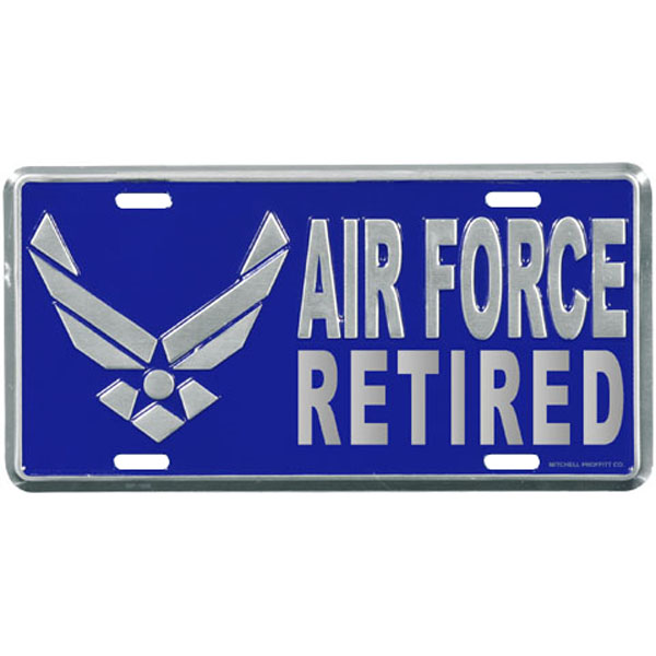 Air Force License Plate Air Force Retired With Wing Logo