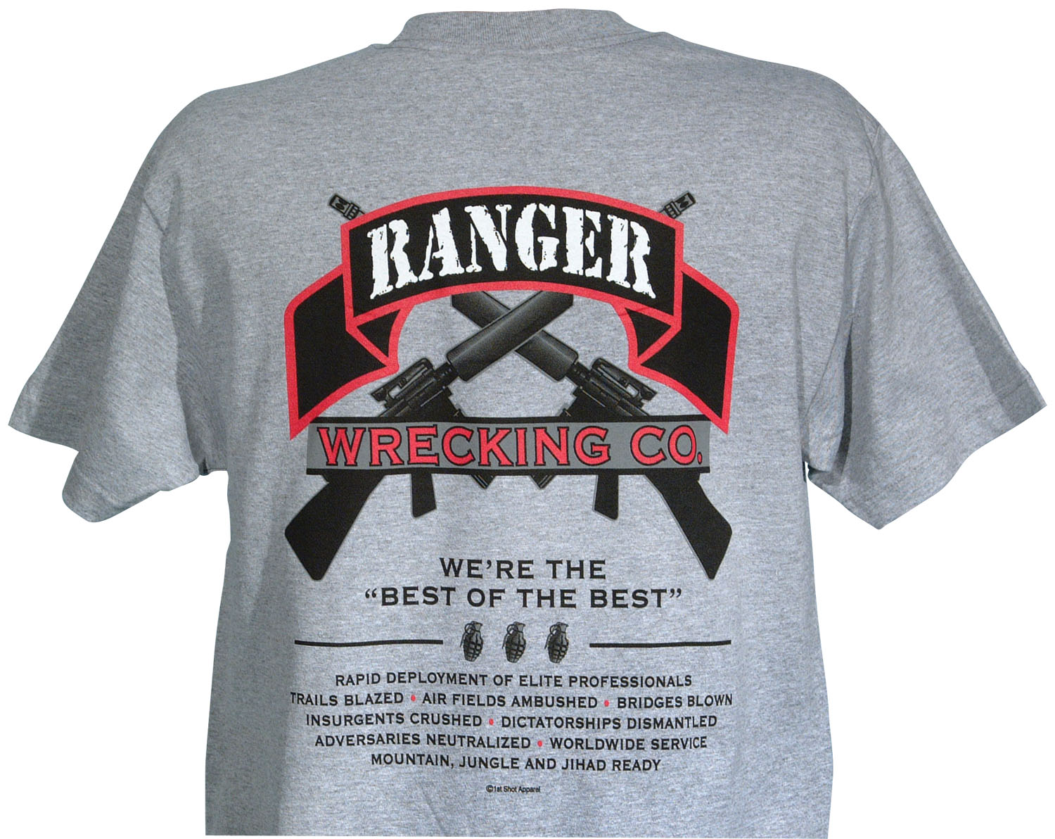 Army Ranger Silk Screen Grey Tee Shirt North Bay Listings