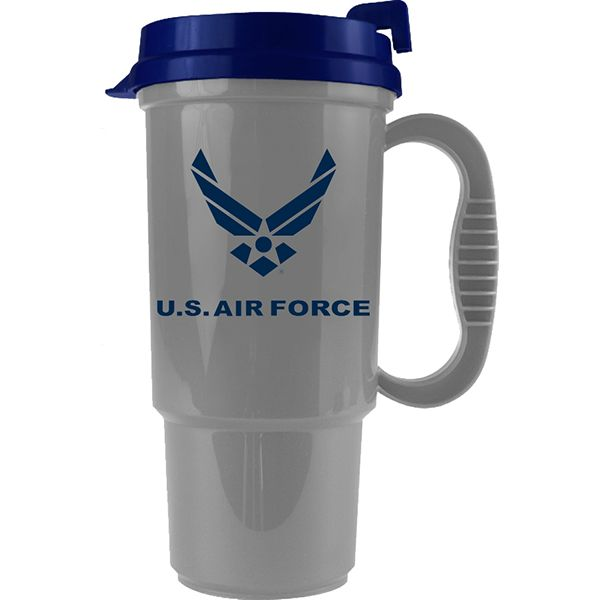 Us Air Force Symbol On Silver Insulated Travel Mug With Blue Lid