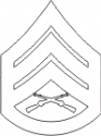 E-6 SSGT Staff Sergeant (White) Decal