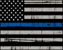 Law Enforcement LEO USA FLAG with Blue Line all medal Sign.