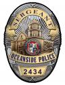 Oceanside Police (Sergeant) Department Badge all Metal Sign with your badge numb