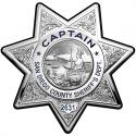 Captain San Diego Sheriff's Department Badge All Metal Sign